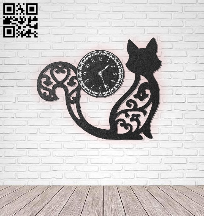 Cat wall clock E0011085 file cdr and dxf free vector download for laser cut
