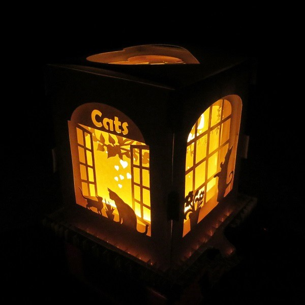 Cat window light box E0011093 file cdr and dxf free vector download for Laser cut