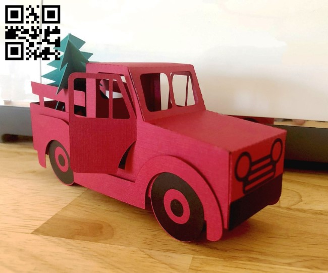Christmas truck E0011002 file cdr and dxf free vector download for paper Laser cut