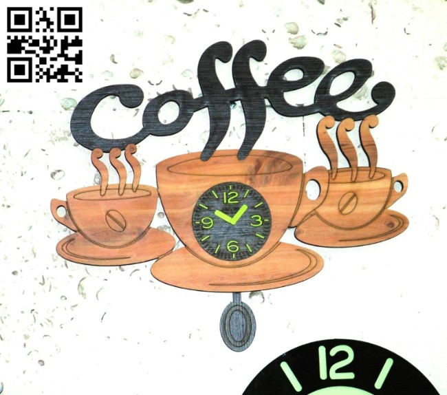Coffe wall clock E0010974 file cdr and dxf free vector download for Laser cut