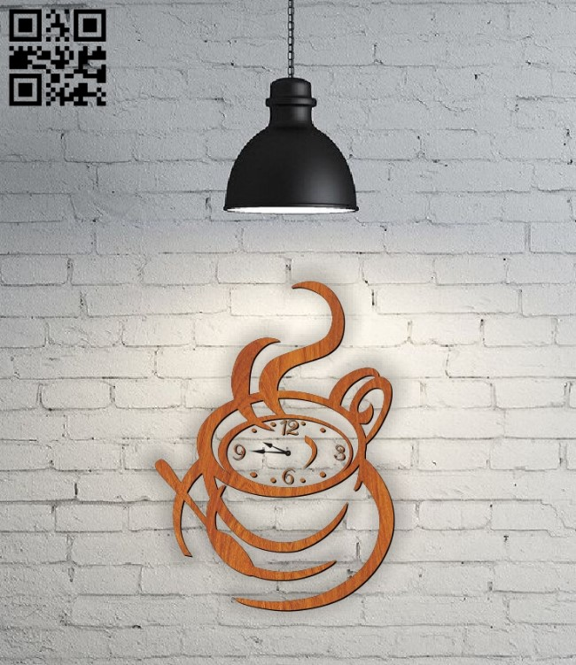 Coffee clock E0011004 file cdr and dxf free vector download for Laser cut