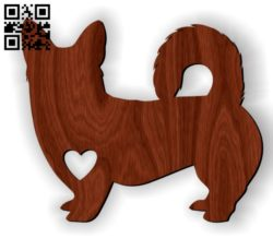 Corgi with heart E0010959 file cdr and dxf free vector download for Laser cut