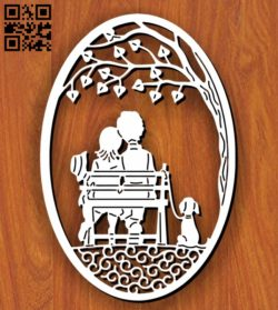 Couple in the park E0011321 file cdr and dxf free vector download for Laser cut