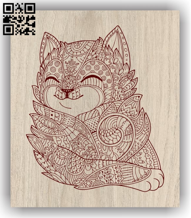 Cute kitten E0011308 file cdr and dxf free vector download for laser engraving machines