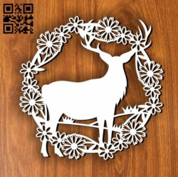 Dear with wreath E0011256 file cdr and dxf free vector download for laser cut