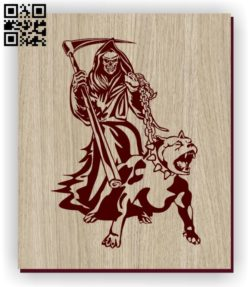 Death with bull dog E0011264 file cdr and dxf free vector download for laser engraving machines