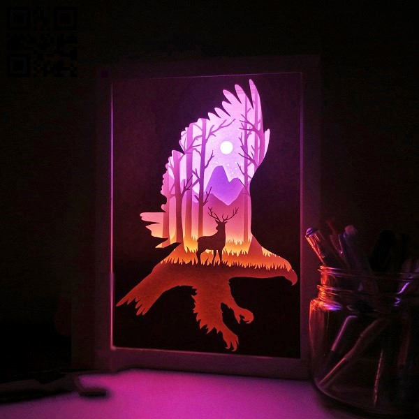 Deer and Eagle light box E0011091 file cdr and dxf free vector download for Laser cut