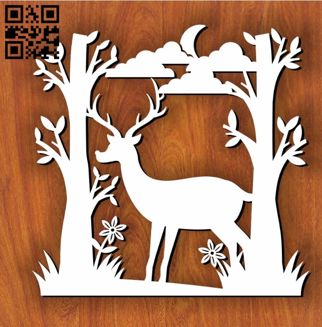 Deer in forest E0011201 file cdr and dxf free vector download for Laser cut