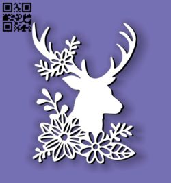 Deer with flowers E0011194 file cdr and dxf free vector download for Laser cut