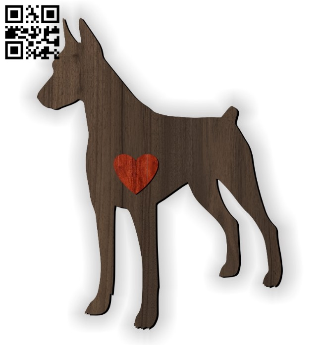 Doberman with heart E0010958 file cdr and dxf free vector download for Laser cut
