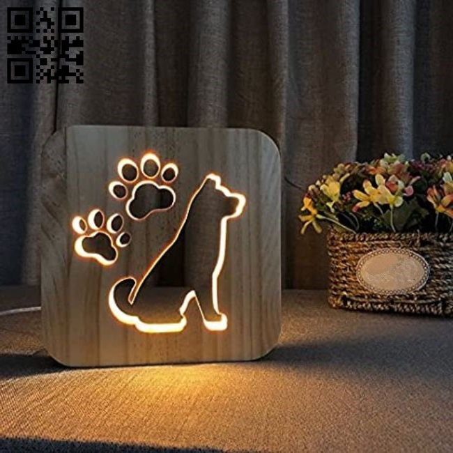 Dog Lamp E0011069 file cdr and dxf free vector download for Laser cut