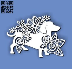 Dog with flowers E0011193 file cdr and dxf free vector download for Laser cut