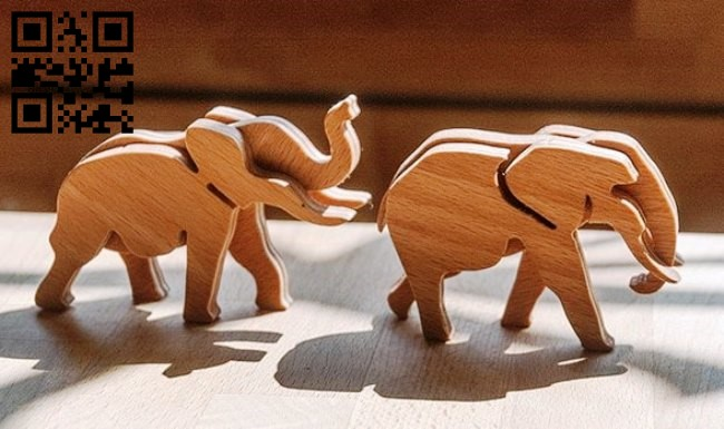 Elephants 3D puzzle E0011228 file cdr and dxf free vector download for Laser cut