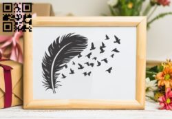 Feather with bird  E0011153 file cdr and dxf free vector download for laser engraving machines