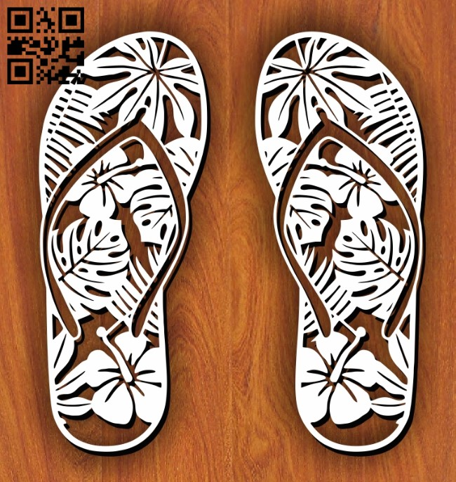 Flip-flops E0011294 file cdr and dxf free vector download for Laser cut