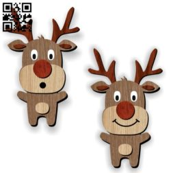 Funny reindeer E0011151 file cdr and dxf free vector download for laser cut