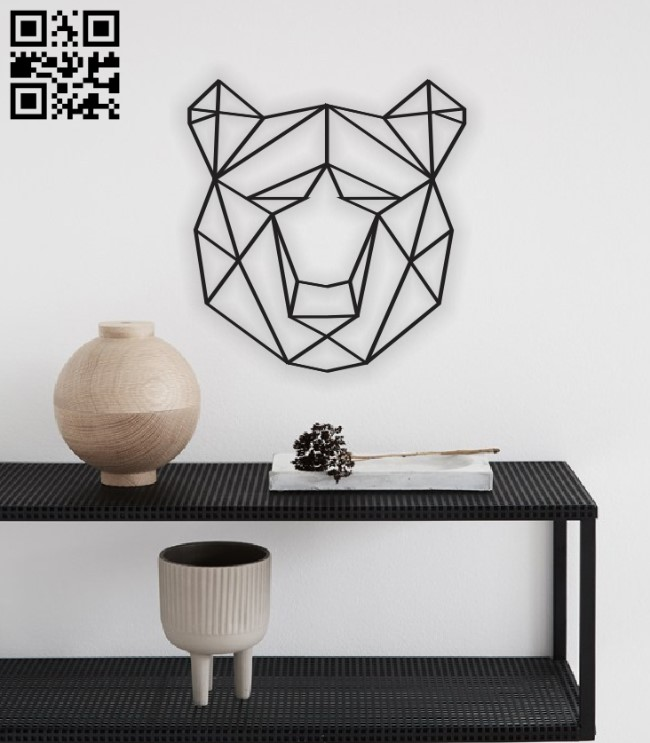 Geometric bear E0011353 free vector download for laser cut