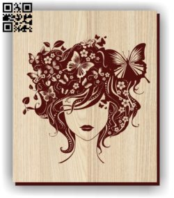 Girl and the butterfly E0011282 file cdr and dxf free vector download for laser engraving machines