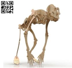 Gorilla skeleton E0011030 file cdr and dxf free vector download for Laser cut