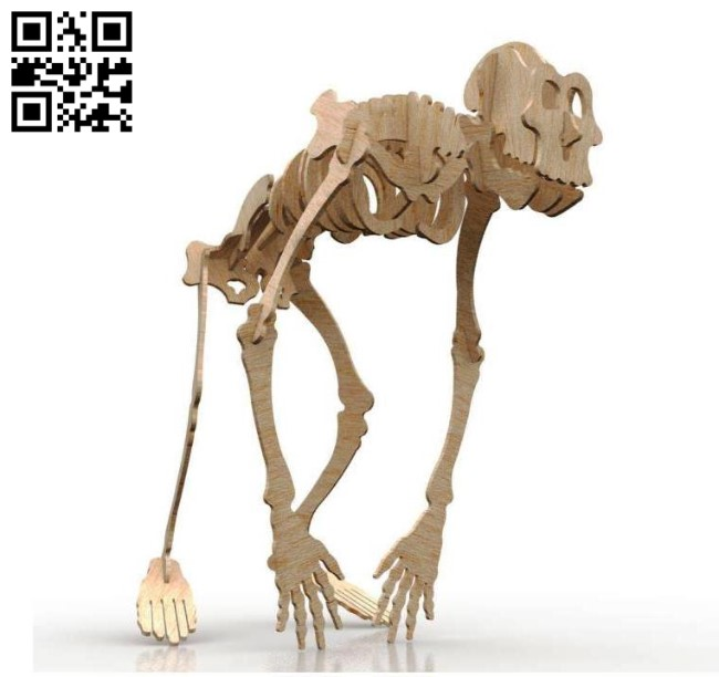 Gorilla skeleton E0011030 file cdr and dxf free vector download for Laser cut