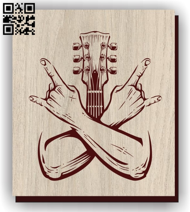 Hand and guitar E0011278 file cdr and dxf free vector download for laser engraving machines