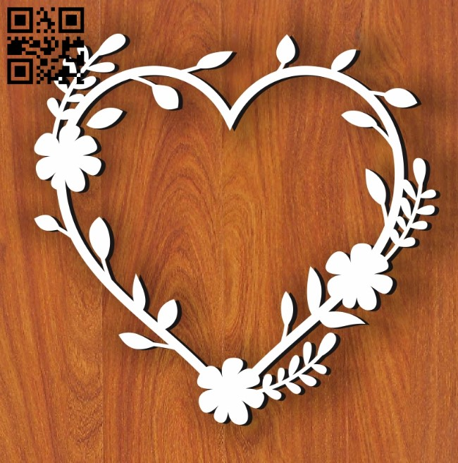 Heart Wreath E0011199 file cdr and dxf free vector download for Laser cut