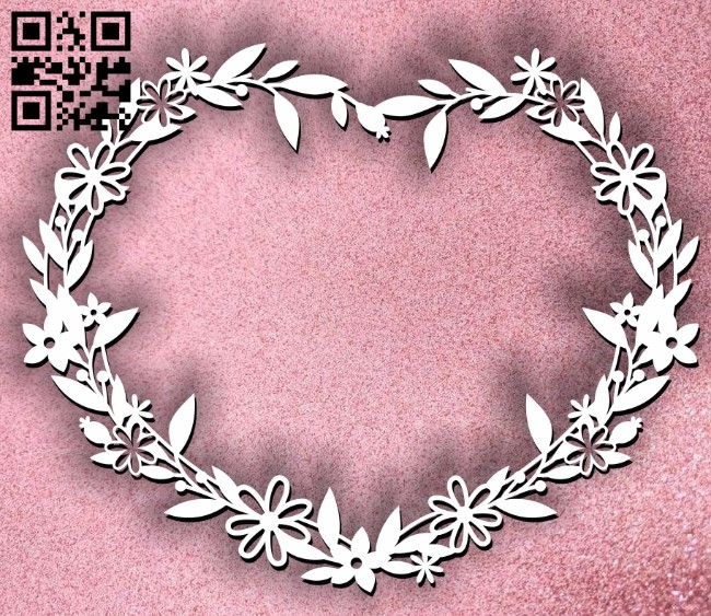Heart wreath E0011260 file cdr and dxf free vector download for Laser cut