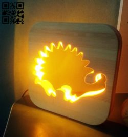 Hedgehog night light E0010979 file cdr and dxf free vector download for Laser cut