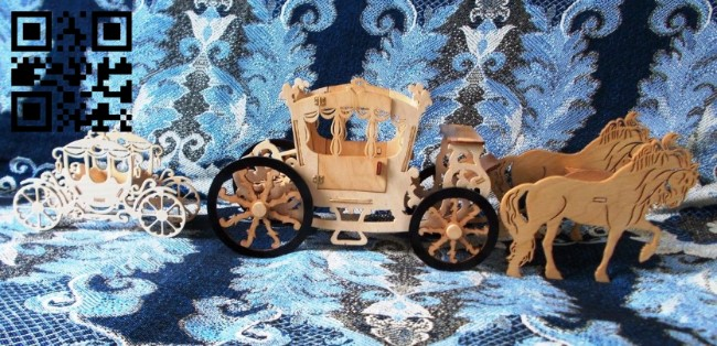 Horse wagon E0011123 file cdr and dxf free vector download for Laser cut