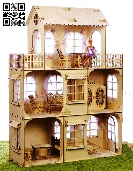 House 3 floors E0011242 file cdr and dxf free vector download for Laser cut