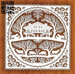 House in forest E0011319 file cdr and dxf free vector download for Laser cut