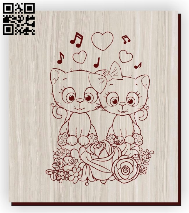 Kittens Cute E0011173 file cdr and dxf free vector download for laser engraving machines