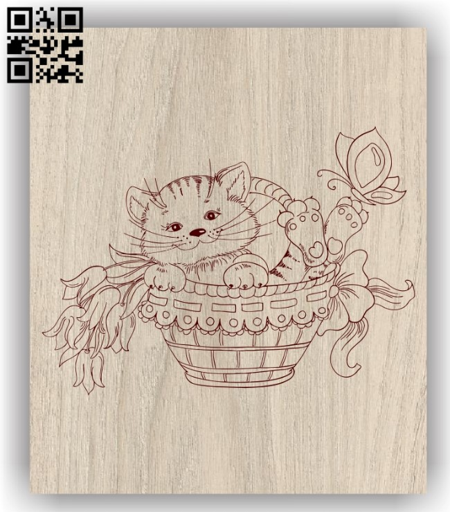 Kittens in the basket E0011309 file cdr and dxf free vector download for laser engraving machines