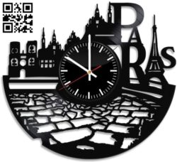 Laser Cut France Paris City wall clock E0011278 file cdr and dxf free vector download for laser cut