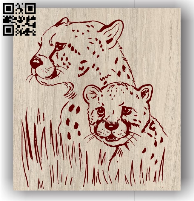 Leopard mother and Cheetahs E0011305 file cdr and dxf free vector download for laser engraving machines