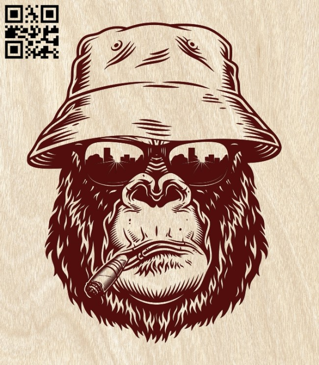Monkey brutal E0011325 file cdr and dxf free vector download for laser engraving machines
