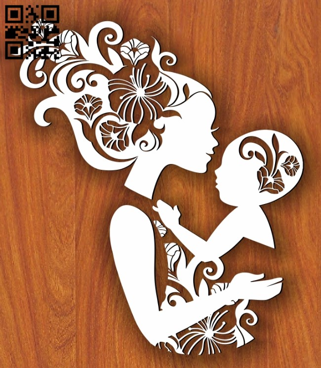 Mother and son E0011225 file cdr and dxf free vector download for Laser cut