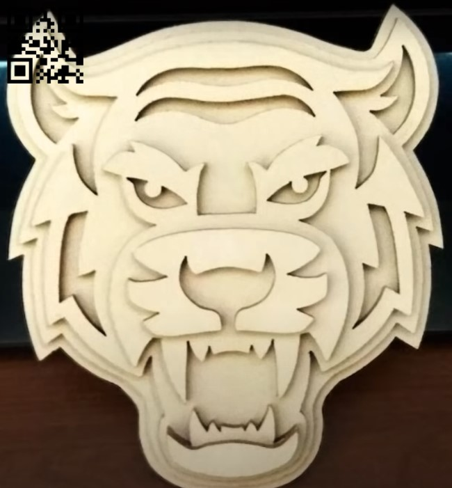 Multilayer tiger E0011345 file cdr and dxf free vector download for Laser cut