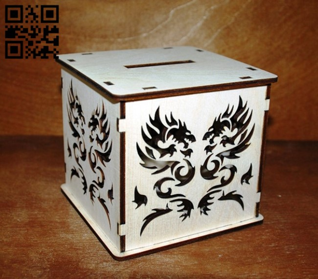 Piggy bank with dragon E0011048 file cdr and dxf free vector download for laser cut