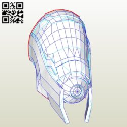 3D Quarian male mask E0010966 file cdr and dxf free vector download for Paper Laser cut