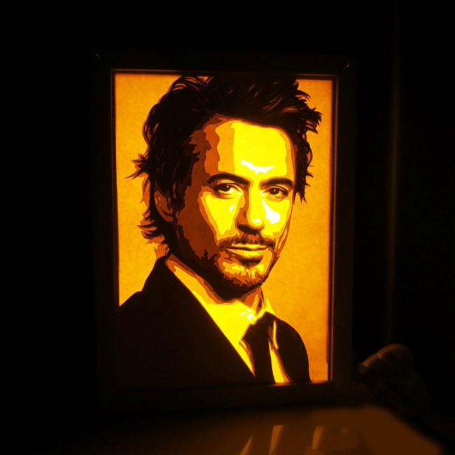 Robert Downey Jr Actor light box E0011129 file cdr and dxf free vector download for laser cut
