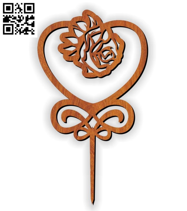 Rose topper E0010975 file cdr and dxf free vector download for Laser cut