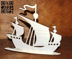 Sailing Ship  E0011061file cdr and dxf free vector download for Laser cut