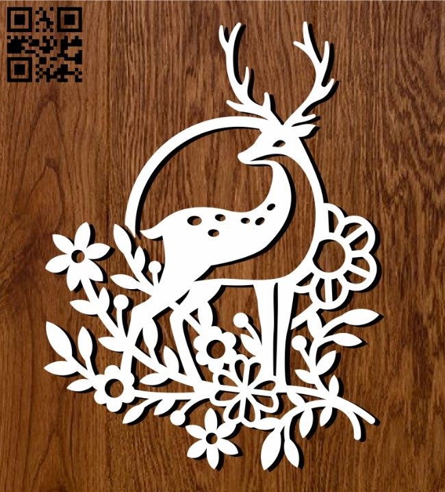Sika deer E0011261 file cdr and dxf free vector download for Laser cut