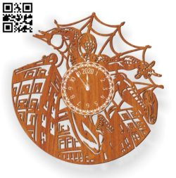 Spiderman clock E0011263 file cdr and dxf free vector download for Laser cut