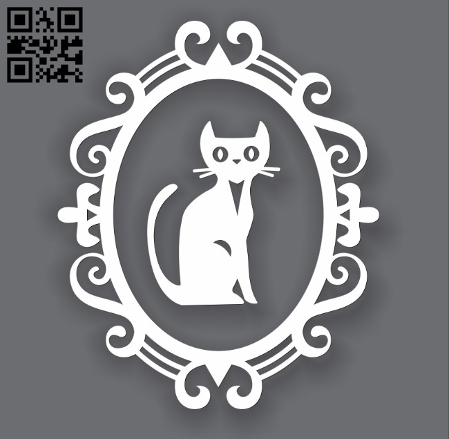 Spooky Cat Frames E0010954 file cdr and dxf free vector download for Laser cut