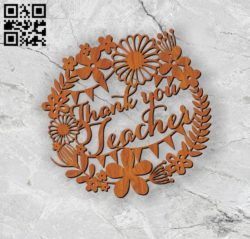 Thank you teacher E0010983 File cdr and dxf free vector download for laser cut
