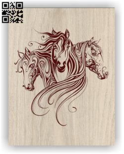 Three horses E0011339 file cdr and dxf free vector download for print or laser engraving machines