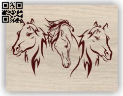 Three horses E0011340 file cdr and dxf free vector download for print or laser engraving machines