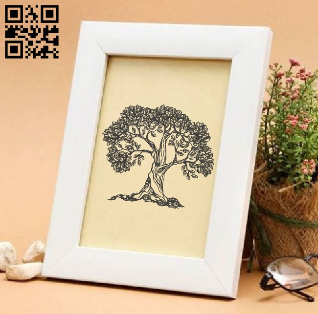 Tree E0011017 file cdr and dxf free vector download for laser engraving machines